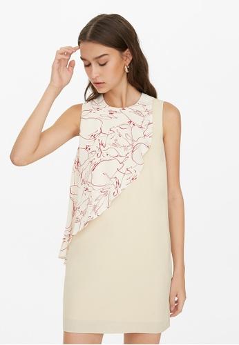 Pomelo beige Mini Front Ruffled Dress - Cream 41791AA37375DCGS_1