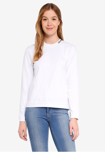 Calvin Klein white Embroidered Logo Long Sleeve T-Shirt - Calvin Klein Jeans D605CAAE81901BGS_1