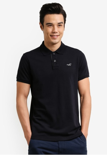 Hollister black Stretch Core Polo Shirt HO422AA0RCQPMY_1