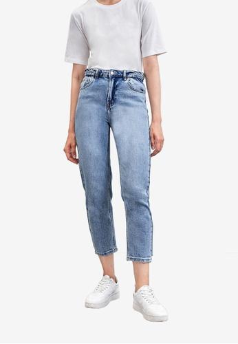 URBAN REVIVO blue Crop Jeans 62DF3AA0ADC24CGS_1