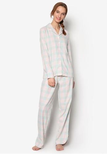 柔和格紋襯衫睡衣組合, 服esprit地址飾, 服飾