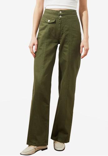 Trendyol green High Waist Wide Leg Jeans with Pocket AD40EAAFF4B0B5GS_1