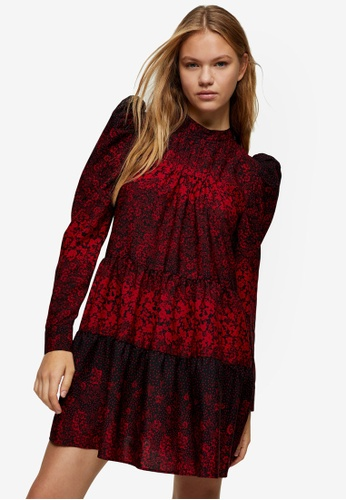 TOPSHOP red Red Tiered Mini Pintuck Dress 680B8AAA5C8411GS_1
