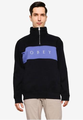 OBEY black Ian Mock Neck Zip Sweatshirt CF18BAAD1A0D54GS_1