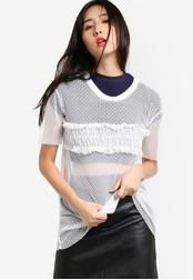 TOPSHOP white Dobby Mesh Ruffle T-Shirt TO412AA09NGCMY_1