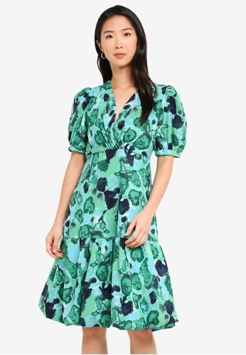Vero Moda green Waleria 2/4 Bubble Hem Dress 0EB82AA1A7F2FFGS_1