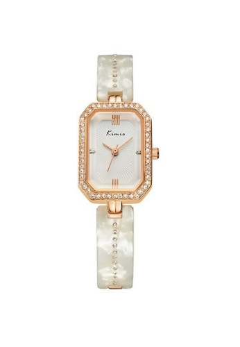 Eyki white and red and gold Eyki Kimio KW6006S Women's Classic Rectangle Rhinestones Stainless Steel Watch (Rosegold White) EY078AC62ROVMY_1
