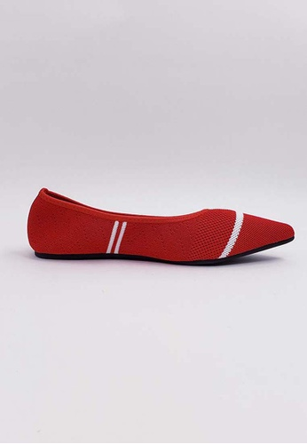 HERME MONY red Japanese Knit Flat Shoes BE930SH699E7FDGS_1