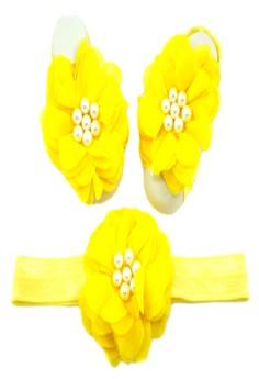 Baby Headband and Barefoot Sandals (Chiffon Flower) Yellow Set 0mons+