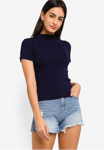ZALORA BASICS navy High Neck Short Sleeves Jumper F1A7FAAA718744GS_1
