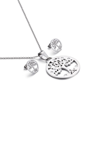 Glamorousky white Fashion and Elegant Tree Geometric Round 316L Stainless Steel Necklace and Stud Earring Set with Cubic Zirconia 75665AC6C26FF2GS_1
