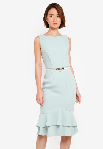 Womens Peplum Flute Hem Dres with Cream Belt Dress Paper Dolls