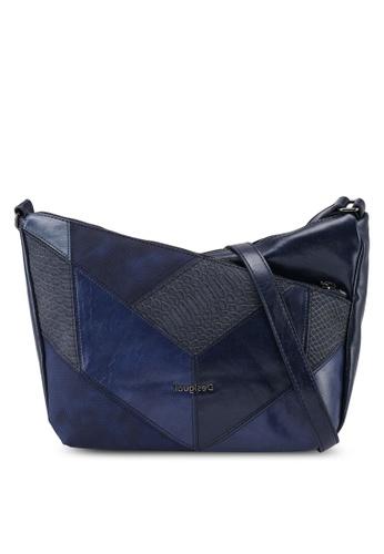 Desigual blue Asymmetrical Reptile Crossbody Bag 74637AC3A3BCBBGS_1