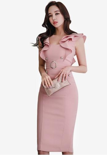 Sunnydaysweety pink Ruffle One Piece Dress CE426AAD0E0EE9GS_1