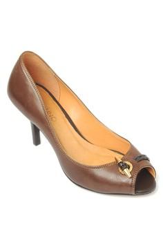 Leather Peep-Toe Heels