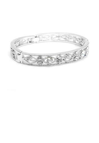 Glamorousky silver Antique Bangle with Silver CZ Bead 1A5FDACB34C128GS_1