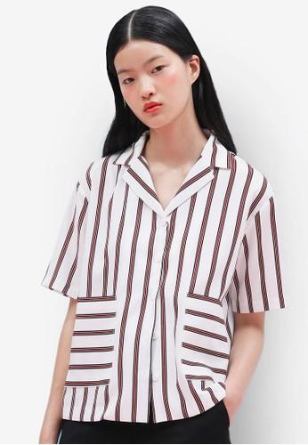 雙色條紋短袖襯衫,esprit outlet 桃園 服飾, 上衣