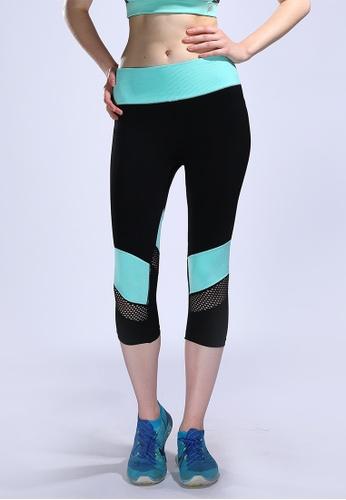 33b0ada3b83864 YSoCool black and green Mesh Quick-Drying Sport Pants Yoga Capri Legging  1FF93AAF52016DGS_1