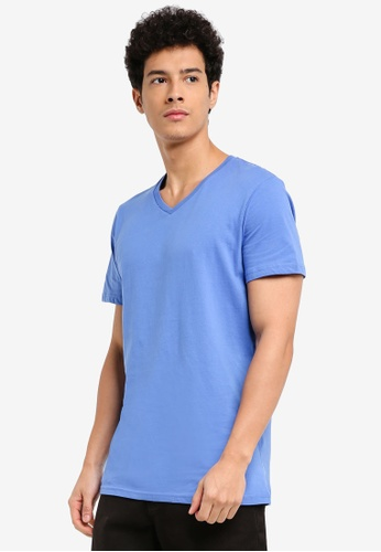 Cotton On blue Essential Vee Neck T-Shirt 433A8AA106154AGS_1
