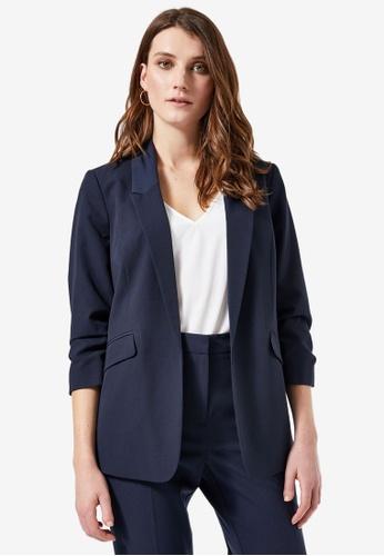 Dorothy Perkins navy Navy Ruched Sleeve Blazer D10FBAA2A0C027GS_1