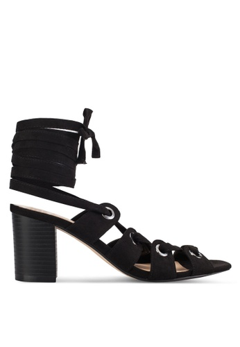 ZALORA black Lace Up Mid Heel Sandals 42923SH59D2509GS_1