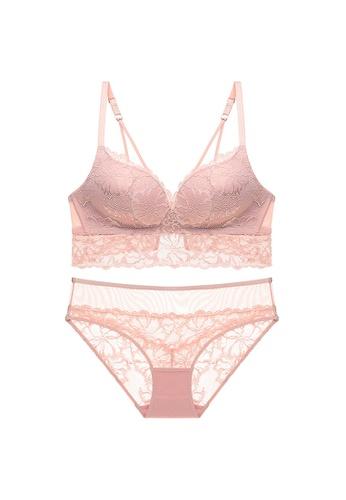 Glorify 粉紅色 Premium Pink Lace Lingerie Set 55D68USD2BAAA3GS_1
