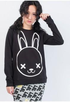兔子長袖厚T恤-黑色