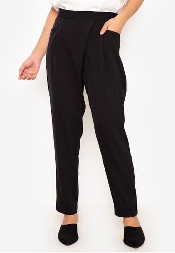 Andi + Olivia black Front Drape Pants A938FAA14A5C9FGS_1