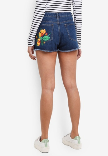 Something Borrowed blue Tropic Patch Denim Shorts F1B73AA2BE3196GS_1