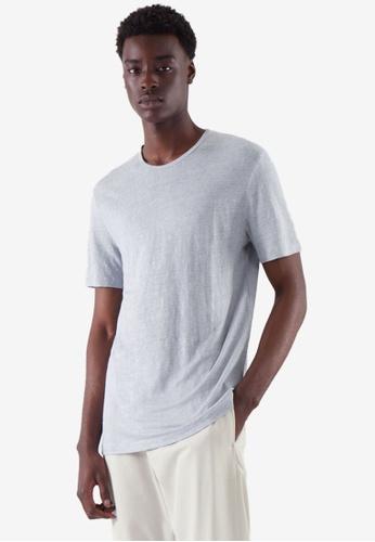 COS blue Regular-Fit Linen T-Shirt 50098AACDBA9F8GS_1