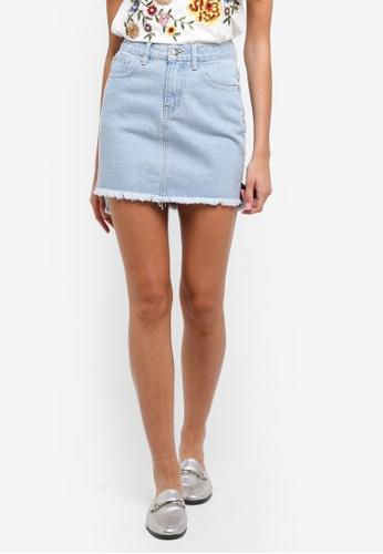 ZALORA blue Mini Skirt With Slits A79ECAA9AE935EGS_1