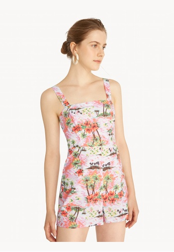 Pomelo pink Beach Print Strappy Romper - Pink 4BEEDAAD021F32GS_1