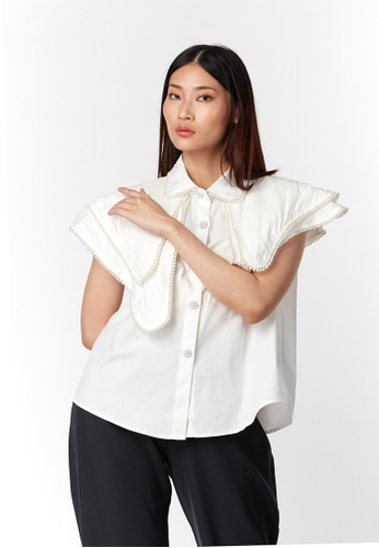 What To Wear white Double Layer Cape with Pearl Decorative Shirt in White 200FDAAC40E83DGS_1