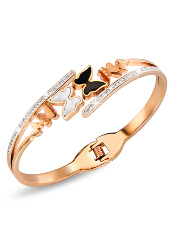 Bullion Gold gold BULLION GOLD Black and White Inlay Butterfly Bangle Rose Gold Layered Titanium Steel C9A29ACEEDC202GS_1