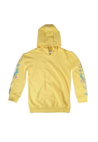 LC Waikiki yellow Girl's Floral Print Hooded Sweatshirt CF8D3KA7F90A75GS_1