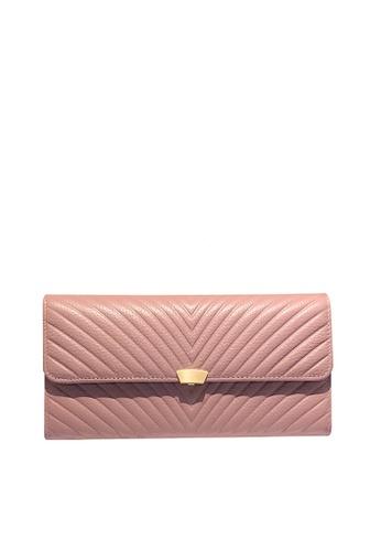 Twenty Eight Shoes pink VANSA Top Layer Cowhide Bi-Fold  Long Wallet VBW-Wt009L E74B8AC6AEE7F4GS_1