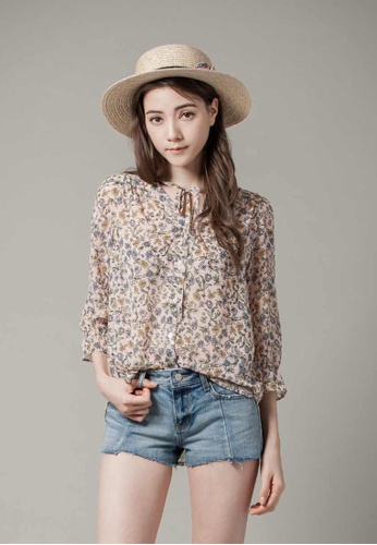 H:CONNECT beige Floral Tie-Neck Polyster Blouse 088A8AAB8CB95AGS_1