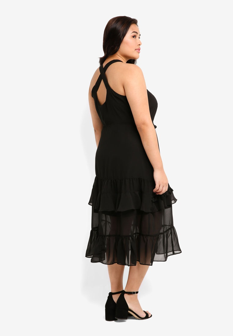 LOST Dress With PLUS Trim Plus Size Black INK Tassle rOx16Zr