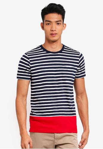 Brooks Brothers navy Red Fleece Pieced Stripe Pocket Tee 88738AA10EECE4GS_1