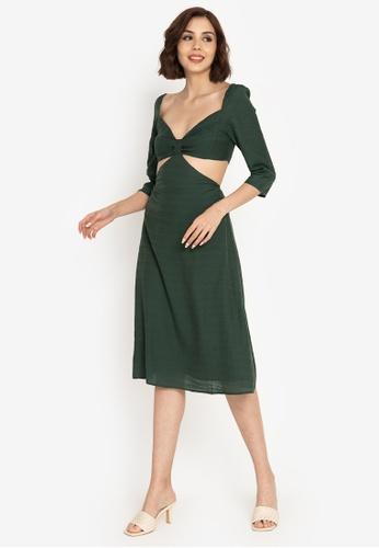ZALORA BASICS green Puff Sleeve Cut Out Dress 5B252AAAB159DCGS_1