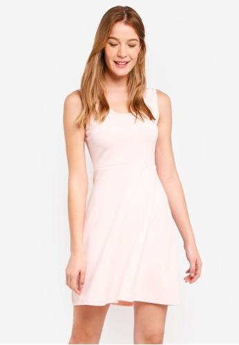 602f7e91968b ZALORA BASICS pink Basic Scoop Neck Fit & Flare Dress 14E8EAA7E2D48FGS_1