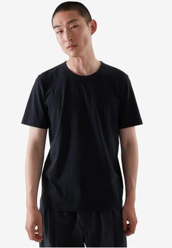 COS blue Regular-Fit Brushed Cotton T-Shirt 4F8A9AA668D950GS_1