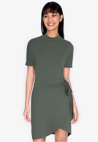 ZALORA BASICS green Turtle-Neck Fake Wrap Dress 46806AA45A9A15GS_1