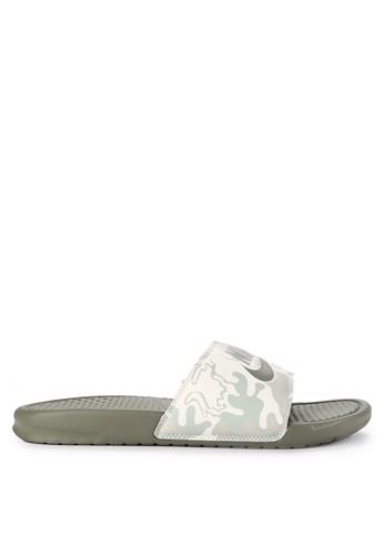 "Nike green and multi Nike Benassi ""Just Do It."" Print Sandals CFE41SH2B64F97GS_1"