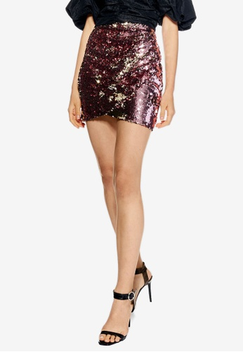 TOPSHOP pink Petite Sequin Drape Mini Skirt 46F9AAAB0A1232GS_1