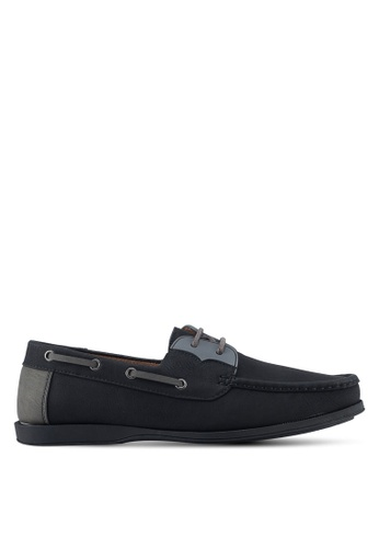 ZALORA black and multi Faux Leather Contrast Colour Boat Shoes 858A7SHE8C91A8GS_1