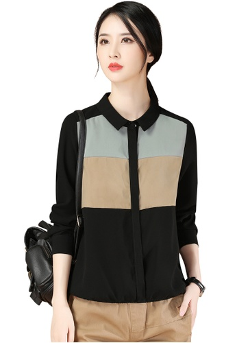 A-IN GIRLS multi Color Block Long Sleeve Blouse With Doll Collar CA337AA0D4EA32GS_1