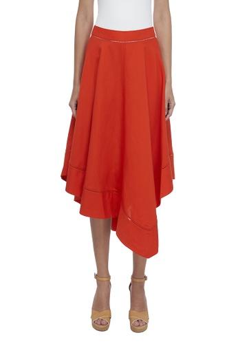 CK CALVIN KLEIN 橘色 人造絲半身裙 E8C2FAAA813950GS_1