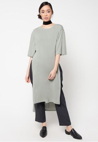 Envy Look beige Deep Incision Long T Shirt EN694AA50CRLID_1