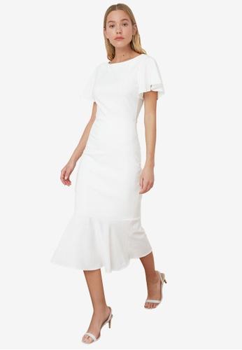 Trendyol white Mermaid Midi Dress 628ADAA1ED2195GS_1